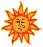 Winking Sun. Vector imaged created in Illustrator by myself, with multiple colours, including a face with winking expression Royalty Free Illustration