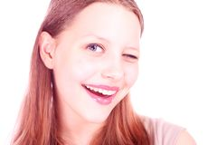 Winking teen girl Royalty Free Stock Photo