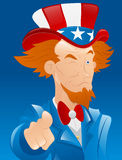 Winking Uncle Sam. Conceptual Drawing Art of Cartoon Adult Uncle Sam Character Pointing Finger and Winking Eyes stock illustration