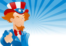 Winking Uncle Sam Retro Background Stock Photos