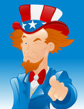 Winking Uncle Sam Vector. Conceptual Drawing Art of Cartoon Adult Uncle Sam Character Pointing Finger and Winking Eyes vector illustration