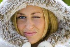 Winking in Winter Royalty Free Stock Images