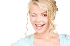 Winking woman Stock Photography