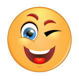 Winking yellow emoticon Vector illustration. Stock Image Royalty Free Stock Photos