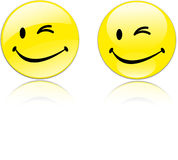 Winking Yellow Smiley Royalty Free Stock Photos