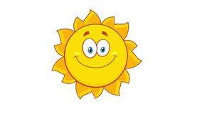 Winking Yellow Sun Cartoon Character