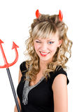 Winking Young Devil Woman Royalty Free Stock Images