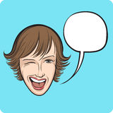 Winking young woman with speech bubble Royalty Free Stock Photos