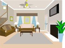 Winkliges modernes Wohnzimmer des Hauses mit zwei Geschichten Lizenzfreies Stockbild