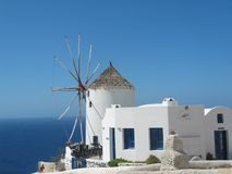Winmill. White windmill, santorini Royalty Free Stock Image