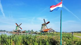 Winmills in Zaanse Schans, Paesi Bassi Fotografie Stock