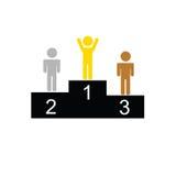 Winnaar en tweede en derde plaatsvector Stock Afbeelding