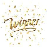 Winnaar gouden confettien Stock Foto