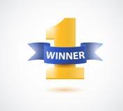 Winnaar, nummer één achtergrond met blauw lint, olijftak en confettien op wit stock afbeeldingen