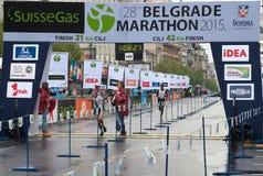 Winnaar van de halve marathon voor mensen Stock Fotografie