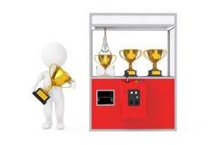 Winnaarpersoon met Gouden Trofeeprijs dichtbij Carnaval Rood Toy Cla Royalty-vrije Stock Foto