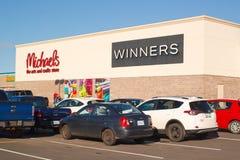 Winnaars en Michaels Storefront stock foto's