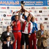 Winnaars van de Wereld Team Championship 2015 van het Strandtennis Stock Foto
