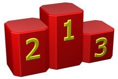 Winnaarspodium met cijfers het 3d teruggeven Stock Foto's