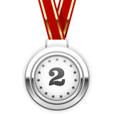 Winnaarzilveren medaille op lint Royalty-vrije Stock Afbeeldingen