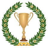 Winne sign, symbol. Winner cup with laurel wreath and copy space on golden ribbon Stock Photo