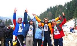 Winnend team-ijs dat het Kampioenschap 2009 beklimt van de Wereld Stock Foto's