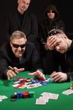 Winnende en verliezende kaartspelers Royalty-vrije Stock Foto's