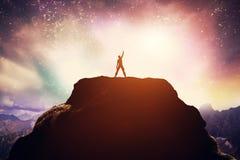 Winnende mens die zich op de piek van een berg bevinden Royalty-vrije Stock Afbeelding