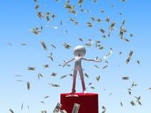 Winnende mens onder dalend geld Royalty-vrije Stock Foto's