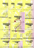 Winnende niet PowerBall loterijkaartjes. Stock Foto