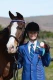 Winnende ruiter en poney Stock Fotografie