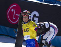 The winner. Race World Cup snowboard Parallel giant slalom in Valmalenco Italy Stock Photos