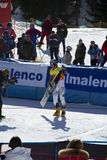 The winner. Race World Cup snowboard Parallel giant slalom in Valmalenco Italy Royalty Free Stock Images