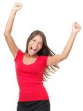 Winner. Woman celebrating success Isolated on white background Stock Images