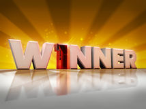 Winner. Word winner in 3d with a number one instead of the letter i Royalty Free Stock Photo
