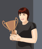 Winner. Vector illustration of a girl with golden cup Royalty Free Stock Images