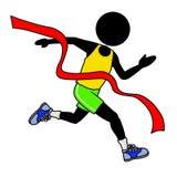 Winner. Silhouette-man running across the finishing line Royalty Free Stock Photography
