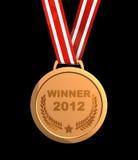 Winner  2012. Winner trophy - golden champion  medal 2012 Royalty Free Stock Image