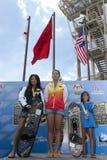 The Winner. PUTRAJAYA, MALAYSIA - OCTOBER 9: The winners of open ladies tricks at 2011 IWWF Asian Waterski & Wakeboard Championships in Putrajaya, Malaysia on Royalty Free Stock Photos