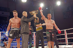 And the winner is. Ionut Iftimoaie. Ionut Iftimoaie (Romania) vs. Luca Panto (Italy) superfight 96 kg category, at Superkombat Final Elimination, october 15 Stock Images