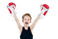 Winner. Happy little boy boxer winner royalty free stock images