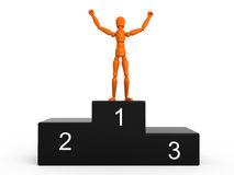 Winner. Orange mannequin on first place Royalty Free Stock Photo