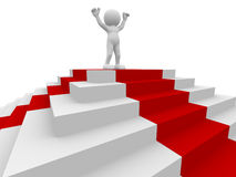Winner. 3d people - human character, person and stairs with a red carpet . Winner. 3d render Stock Image