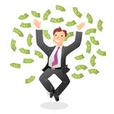 Winner. Vector illustration with happy man and money Stock Photo