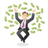 Winner. Vector illustration with happy man and money Vector Illustration