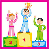 Winner. Image of three funny athletes on the podium Stock Photos