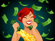 Winner. Happy woman dressed in golden winning a lopt of cash Royalty Free Stock Image