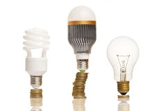 Winner. Money saved in different types of light bulbs stock photography