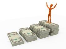 Winner. Orange mannequin with stack of money Stock Photos