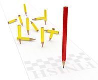 The winner. The red pencil wins by wearing less Royalty Free Stock Photos